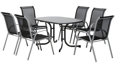 Gartenmöbelset »Saturn II«, 7 - tlg., Alu/Stahl, 6 Stühle, 1 Tisch 132x90 cm kaufen