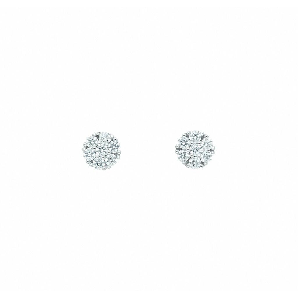 Adelia´s Paar Ohrhänger »585 Weißgold Ohrringe / Ohrstecker mit Zirkonia Ø 5,7 mm«, Goldschmuck für Damen