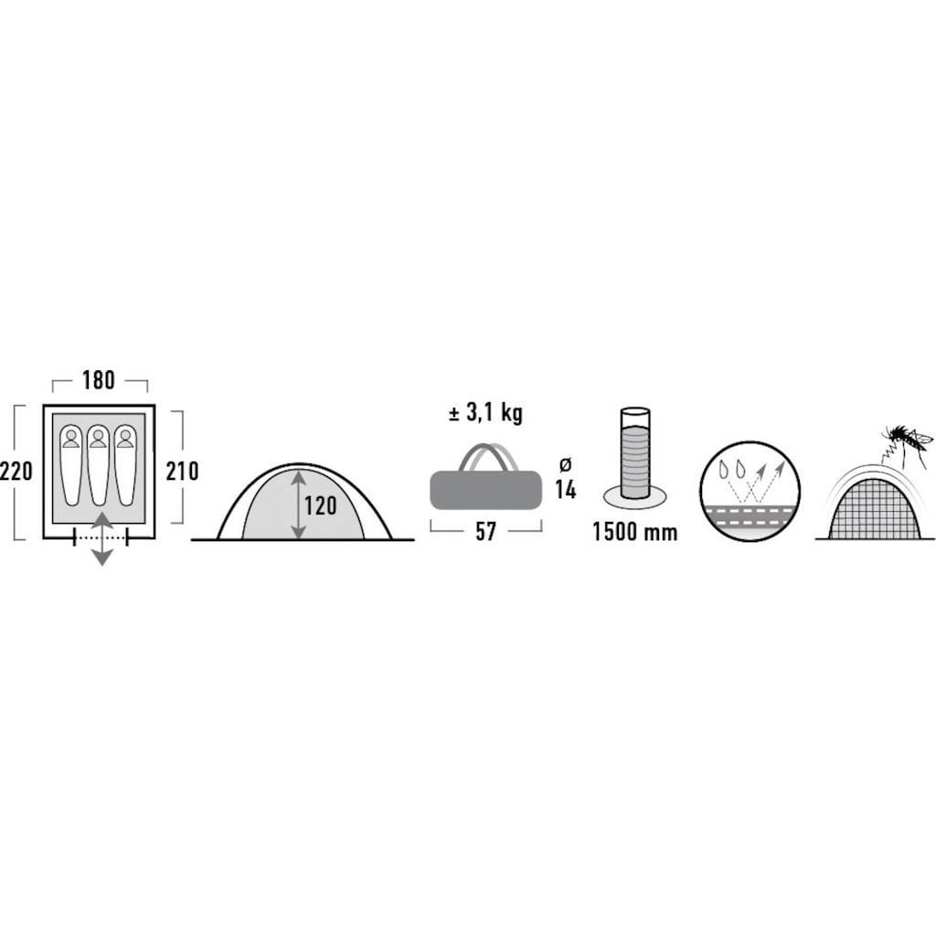 High Peak Kuppelzelt »Texel 3«, 3 Personen, (Set, mit Transporttasche)