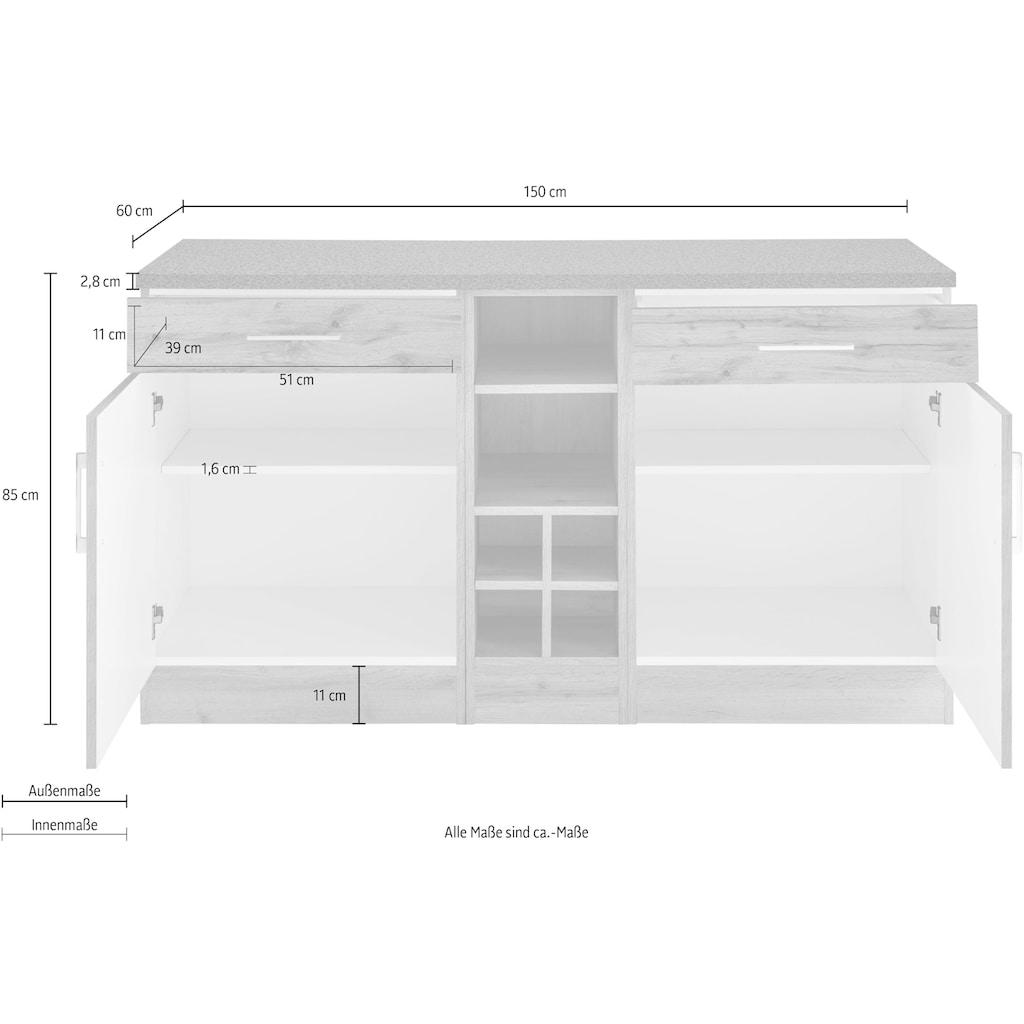 HELD MÖBEL Unterschrank »Colmar«, 150 cm breit, 2 Schubkästen, 2 Türen, 6 Fächer, für viel Stauraum, auch als Sideboard nutzbar, Metallgriffe