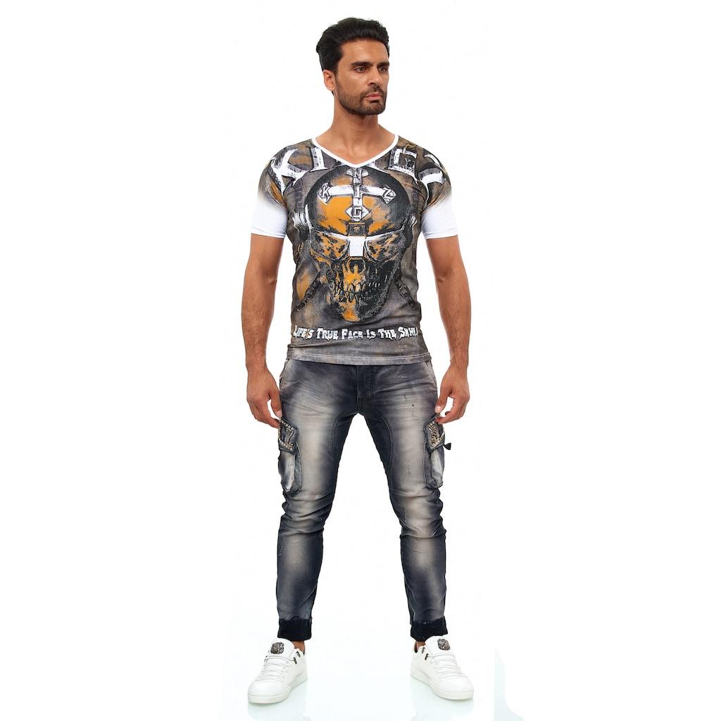 KINGZ Slim-fit-Jeans, mit modischen Details