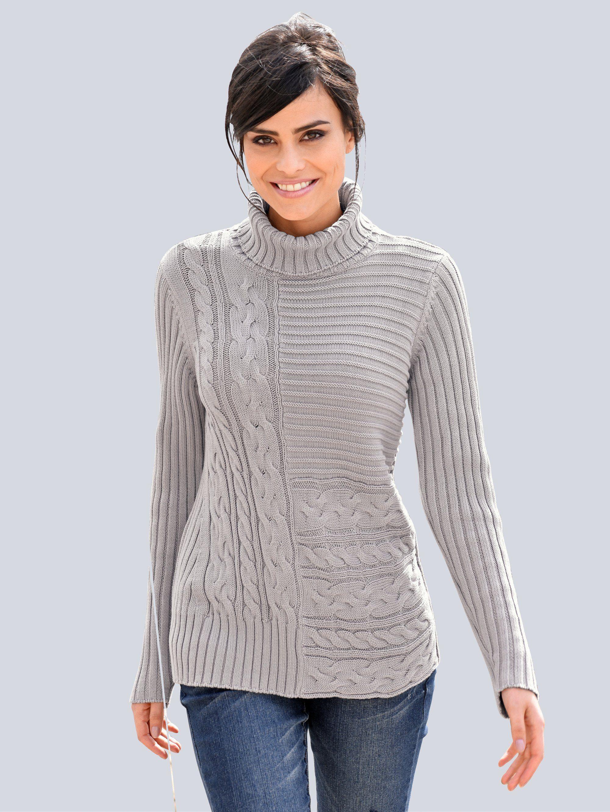 Alba Moda Pullover mit Fully Fashion Verarbeitung | Bekleidung > Pullover > Sonstige Pullover | Grau | Baumwolle | Alba Moda