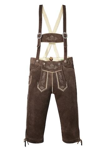Country Line Trachtenlederhose, (2 tlg., mit Hosenträgern), 3/4 lang Herren mit weitenregulierbarem Bund kaufen