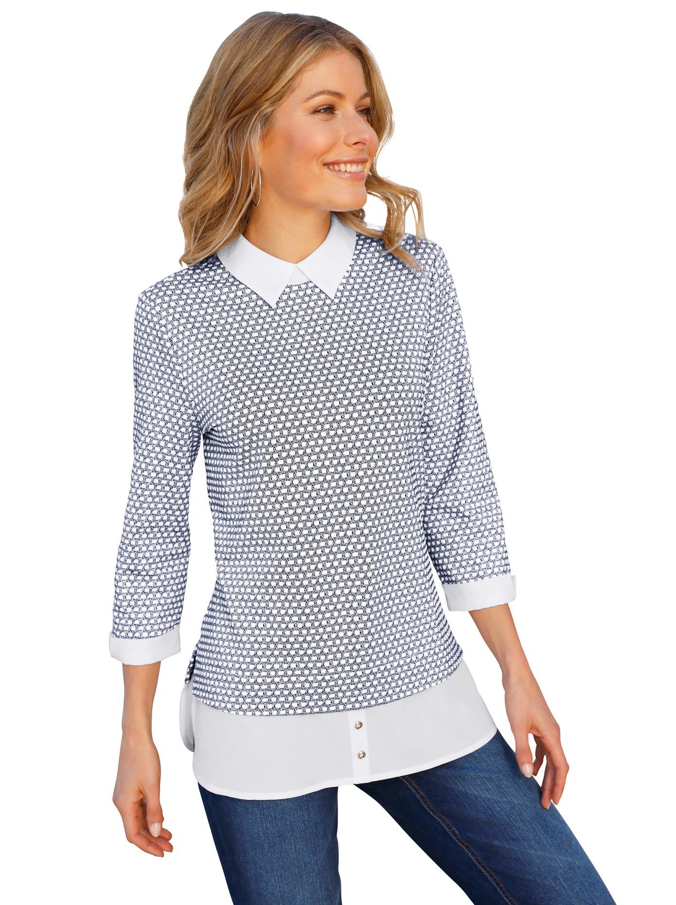 Classic Inspirationen Shirt mit Schlingenknopf-Verschluss   Bekleidung > Shirts > Sonstige Shirts   Blau   Jacquard   Classic Inspirationen