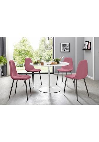 my home Essgruppe, (Set, 5 tlg.), mit rundem Tisch in weiß Hochglanz kaufen