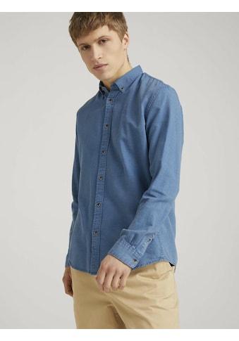 TOM TAILOR Denim Langarmhemd »strukturiertes Hemd mit Bio-Baumwolle« kaufen