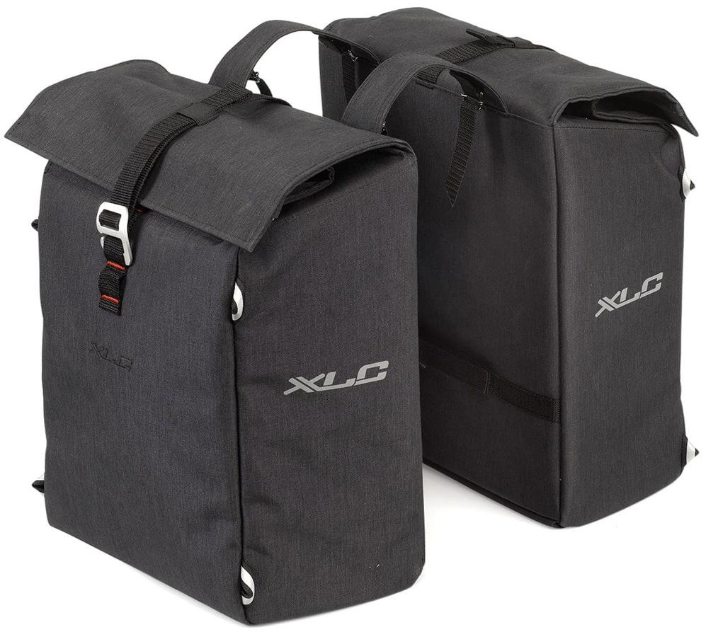 XLC Gepäckträgertasche Doppelpacktasche grau Fahrradtaschen Fahrradzubehör Fahrräder Zubehör Taschen