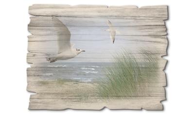 Artland Holzbild »Nordseestrand mit Möwen«, Strand, (1 St.) kaufen