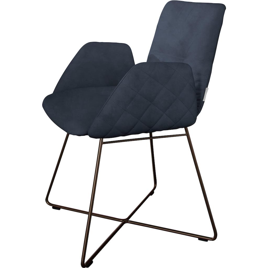 W.SCHILLIG Armlehnstuhl »lotta«, 2er- oder 4er-Set, mit Rücken- & Seitenteilsteppung, Drahtrohrgestell in Schwarz pulverbeschichtet