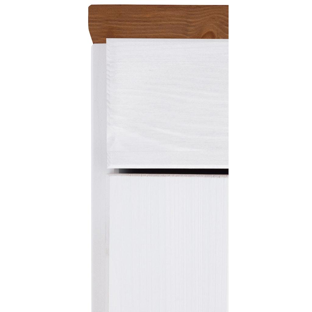 Home affaire Hochschrank »Oslo«, 50 cm breit, in 2 Tiefen, 2 Türen, 1 Schubkasten, aus massiver Kiefer, Metallgriffe, Landhaus-Optik