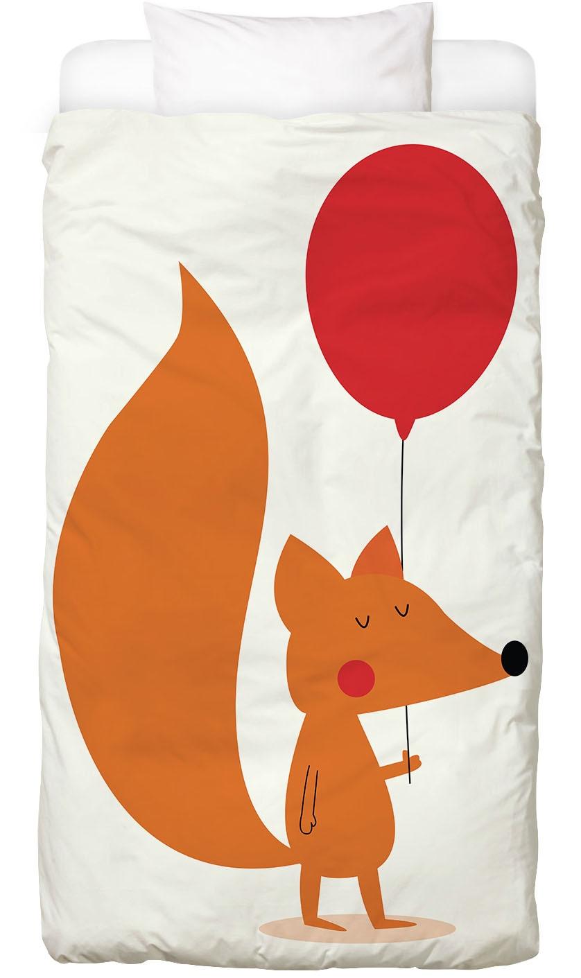 Bettwäsche Fox with a Red Balloon Juniqe
