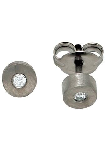 JOBO Paar Ohrstecker, Titan mit 2 Diamanten kaufen