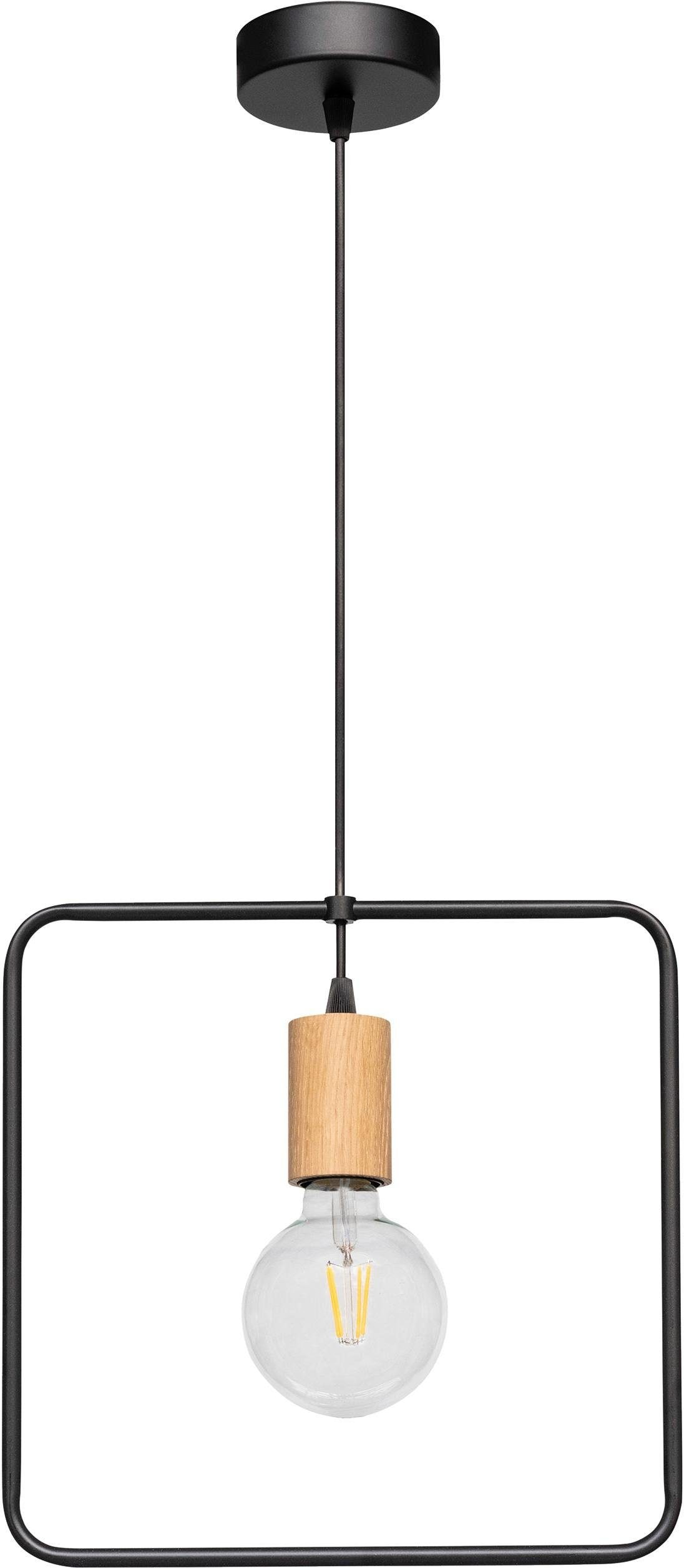 BRITOP LIGHTING Pendelleuchte CARSTEN WOOD, E27, Hängeleuchte, Moderne Leuchte aus Metall und Eichenholz, passende LM E27/exklusive, Made in Europe