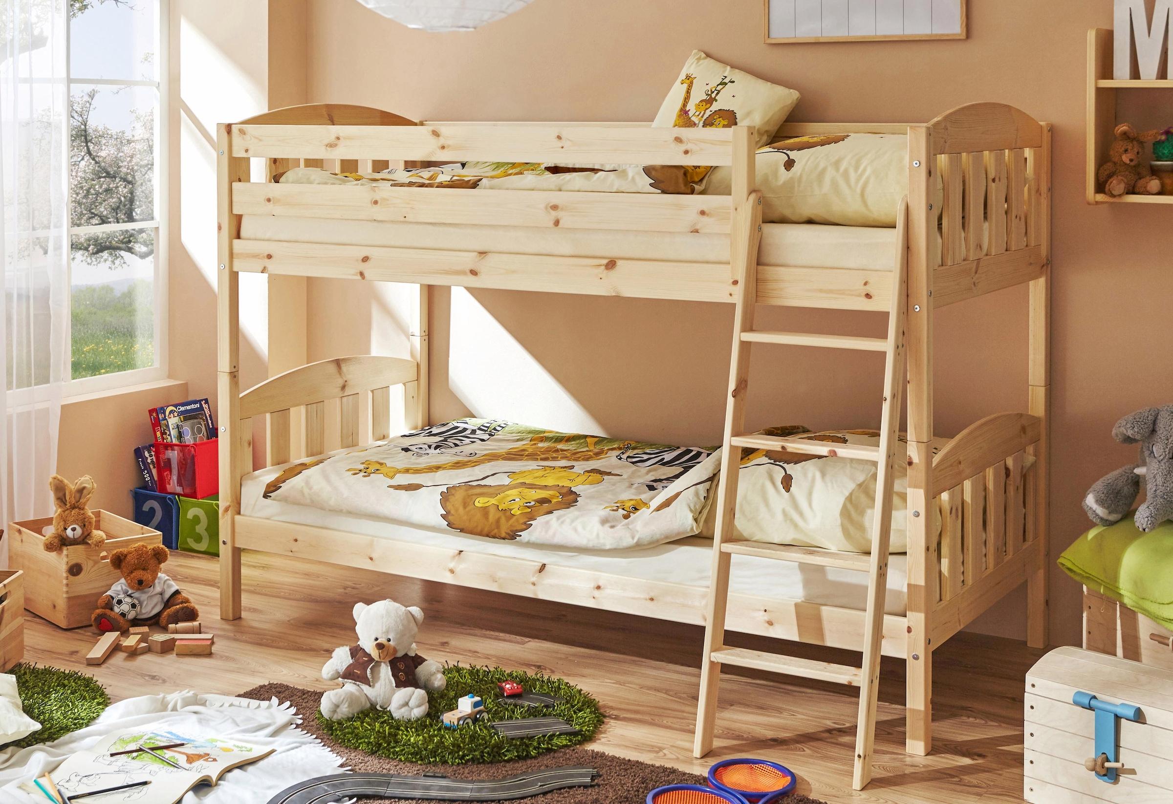 Etagenbett Kiefer Geölt : Infantil infanskids hochbett in kiefer massiv mit schreibplatte