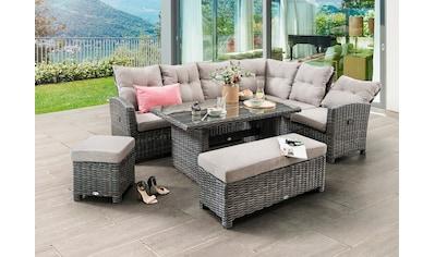 DESTINY Loungeset »Santa Ponsa De Luxe«, 20 - tlg., Sofa, Tisch, 2 Hocker, Polyrattan, inkl. Auflagen kaufen
