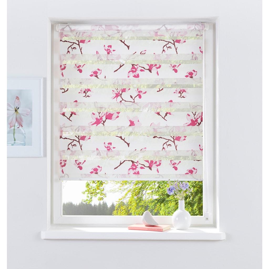 my home Doppelrollo »Orchidee«, Lichtschutz, ohne Bohren, freihängend, im Fixmaß