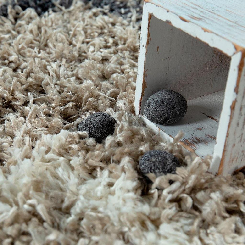 Paco Home Hochflor-Teppich »Helsinki 530«, rechteckig, 45 mm Höhe, Hochflor-Shaggy, Skandinavisches Design, mit Fransen, Wohnzimmer