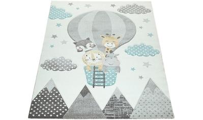 Paco Home Kinderteppich »Cosmo 343«, rechteckig, 18 mm Höhe, Kinder Design, niedliches Motiv in Pastell-Farben kaufen