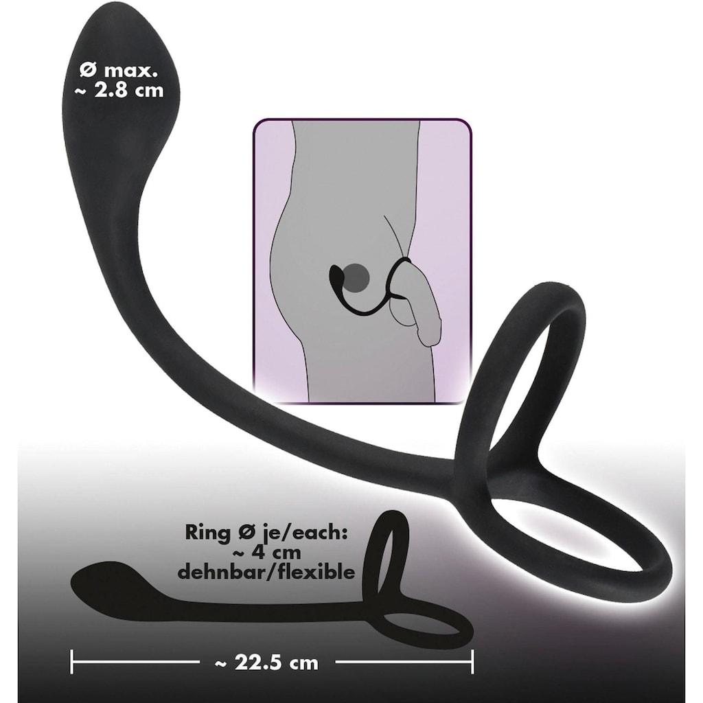 BLACK VELVETS Analplug, mit Penis- und Hodenring