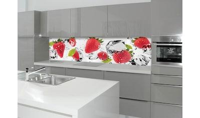 Küchenrückwand  -  Spritzschutz »profix«, Erdbeeren und Eis, 220x60 cm kaufen