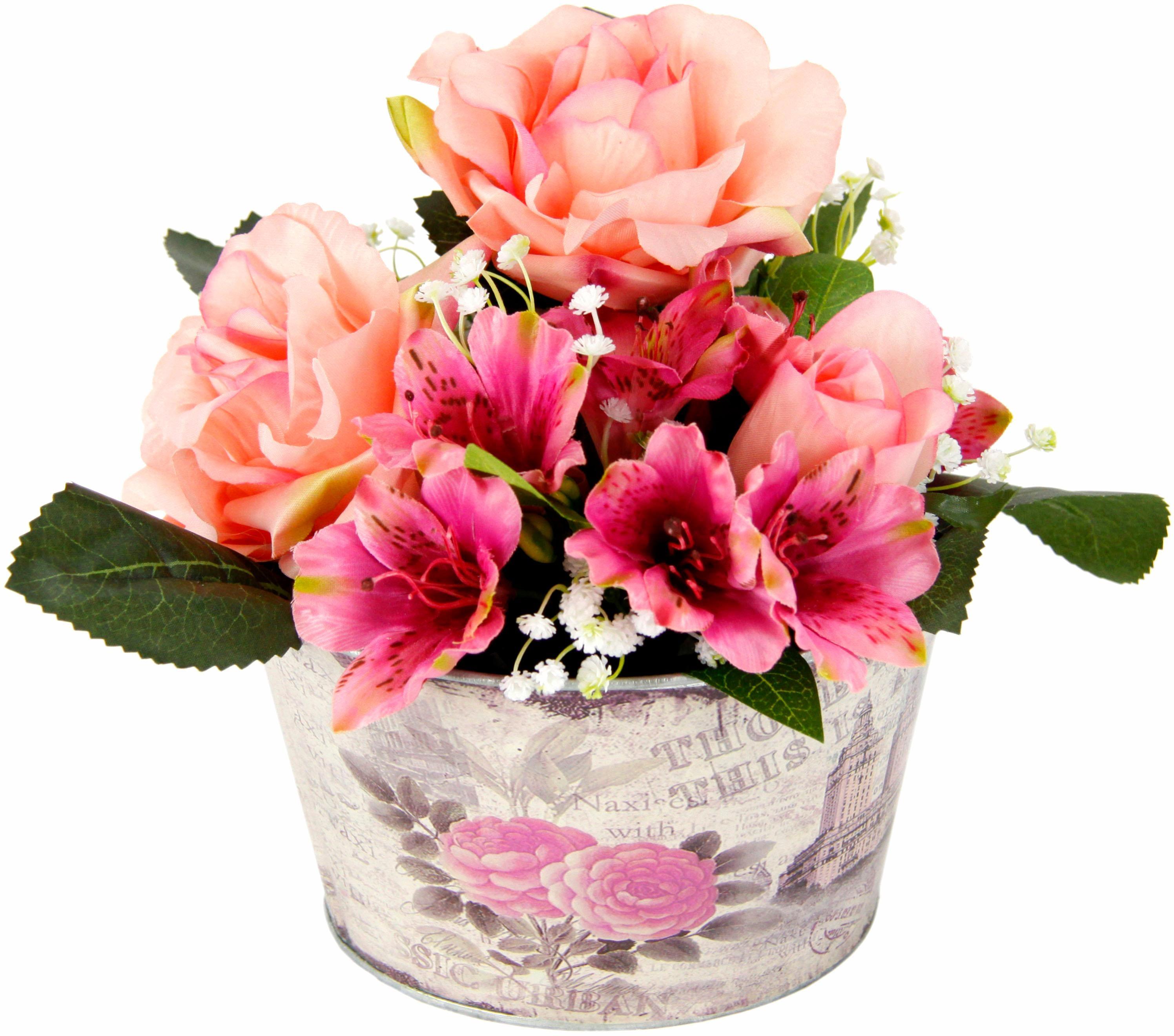 Kunstpflanze Gesteck Rosen in Zinktopf Wohnen/Accessoires & Leuchten/Wohnaccessoires/Kunstpflanzen/Kunstblumen