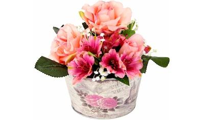 I.GE.A. Kunstpflanze »Gesteck Rosen in Zinktopf« (1 Stück) kaufen