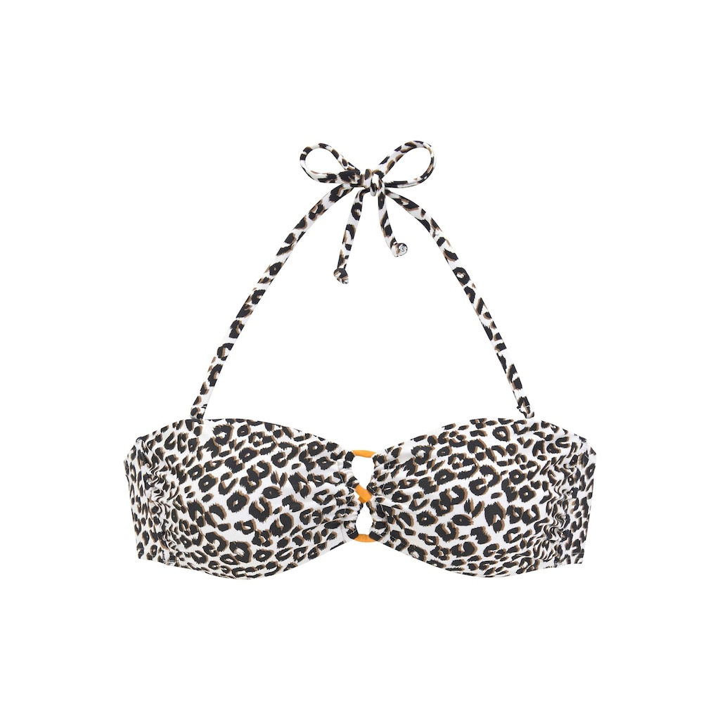 Buffalo Bandeau-Bikini-Top »Kitty«, im Animal-Design und kontrastfarbenen Details