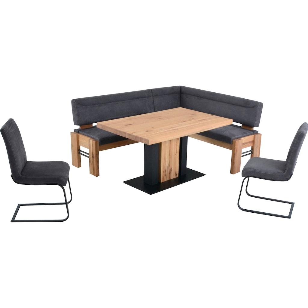 K+W Komfort & Wohnen Eckbankgruppe »Floyd«, (Set, 5 St.), Stauraum-Eckbank, wahlweise rechts oder links langer Schenkel 203cm, 3 Freischwinger und Tisch in Massivholz mit Roheisen, Breite 140cm
