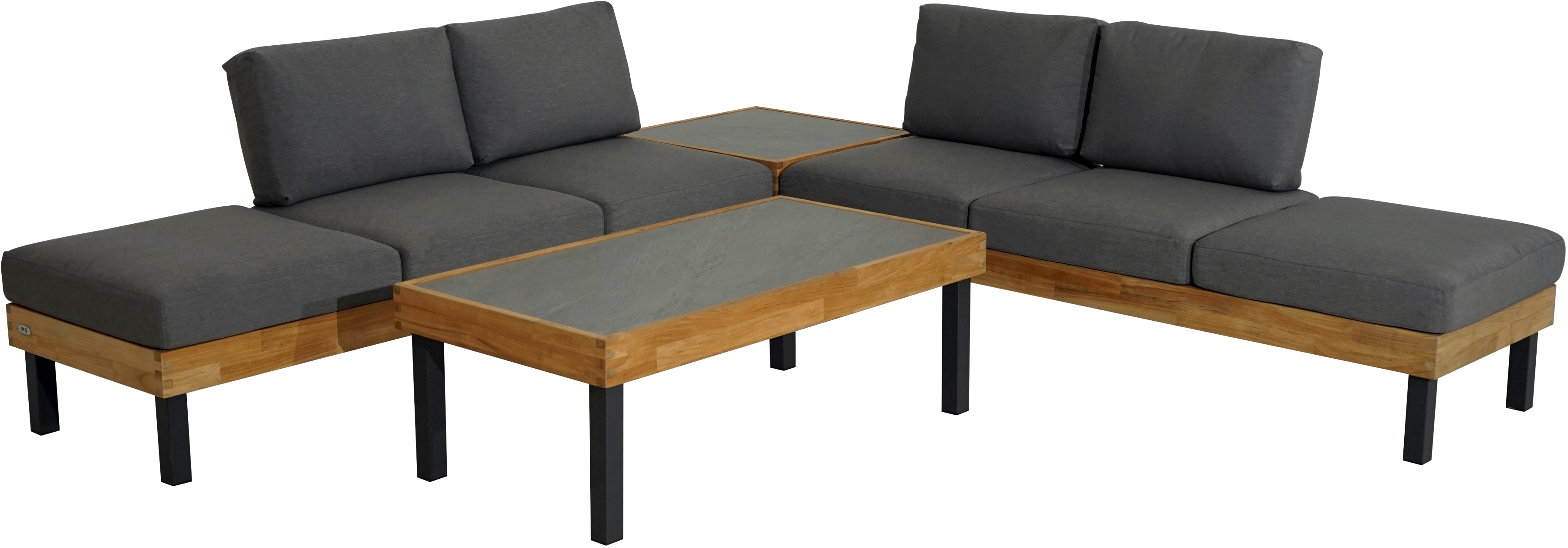 PLOSS Loungeset Skagen 14-tlg 2x 3er Sofas 2x Tische Alu/Teak inkl Auflagen
