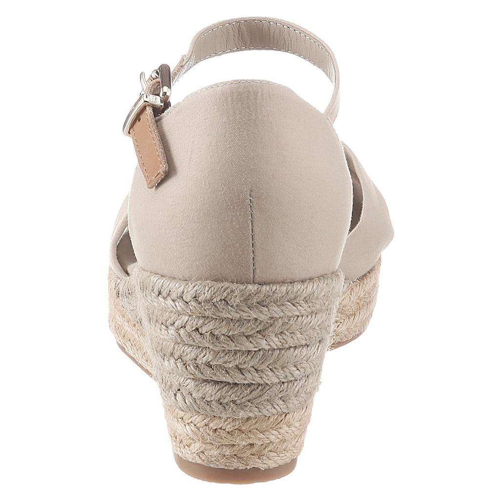 TOMMY HILFIGER Sandalette »BASIC OPENED TOE MID WEDGE«, mit verstellbarem Riemchen