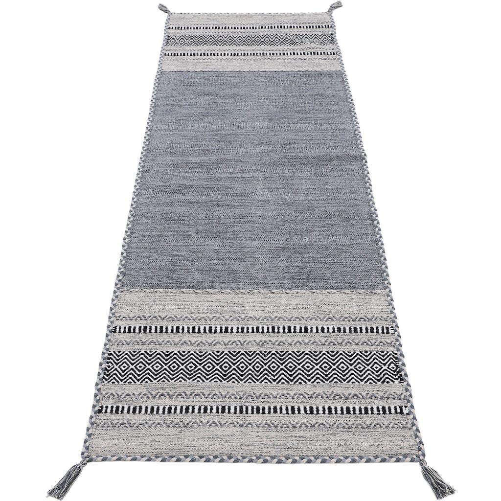 carpetfine Läufer »Kelim Azizi«, rechteckig, 5 mm Höhe, Kelim aus reiner Baumwolle mit Fransen, Wohnzimmer