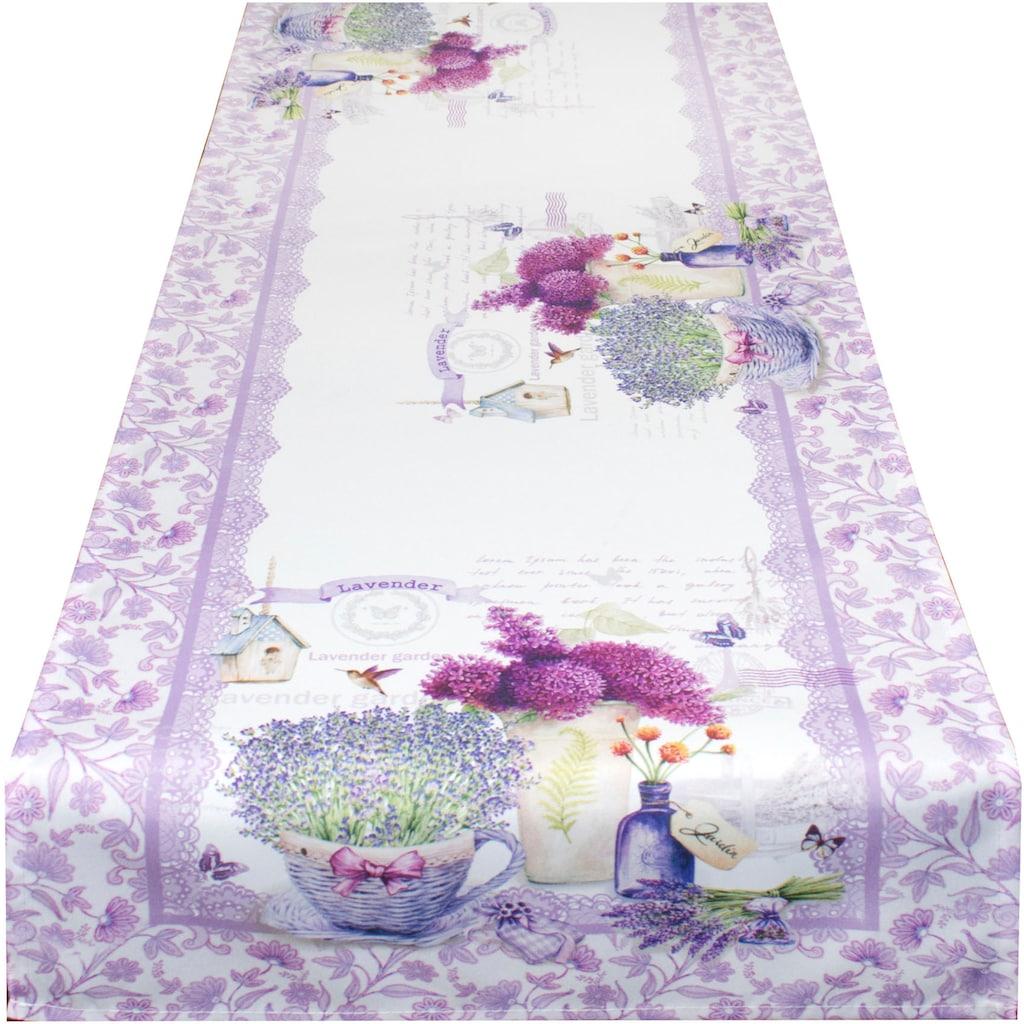 Delindo Lifestyle Tischläufer »Lavendel TÖPFCHEN«, (1 St.), Strukturgewebe, bedruckt