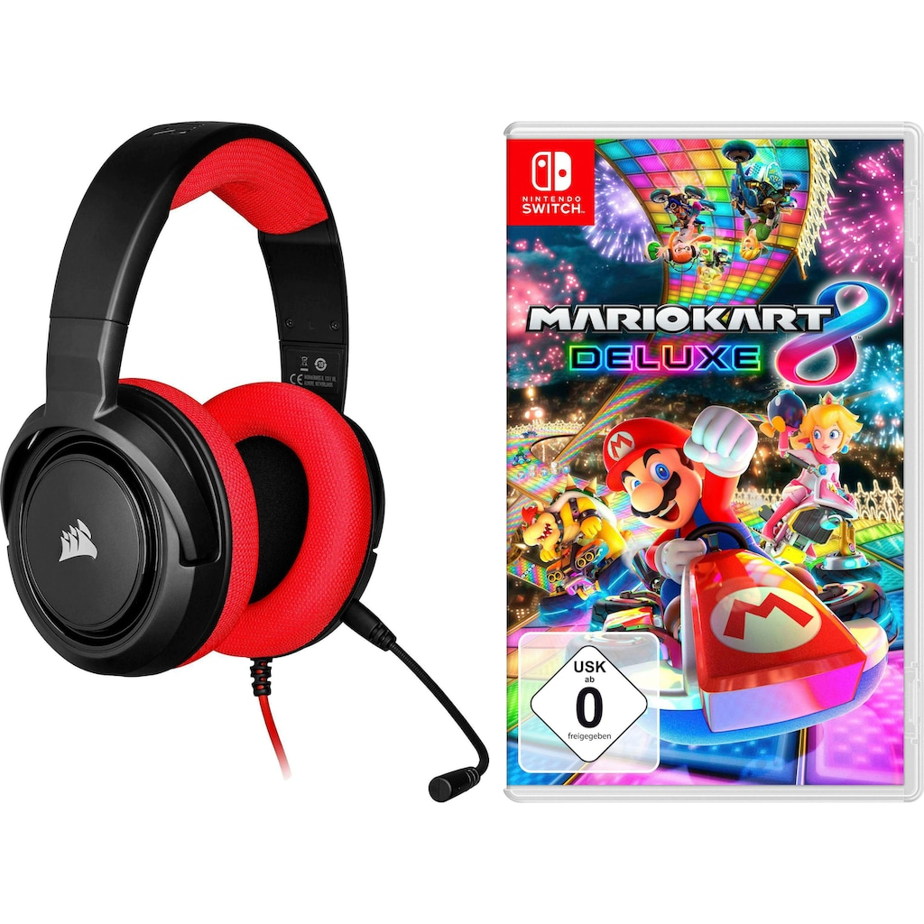 Corsair Gaming-Headset »HS35 Stereo Red«, Mikrofon abnehmbar, inkl. Mario Kart 8 Deluxe