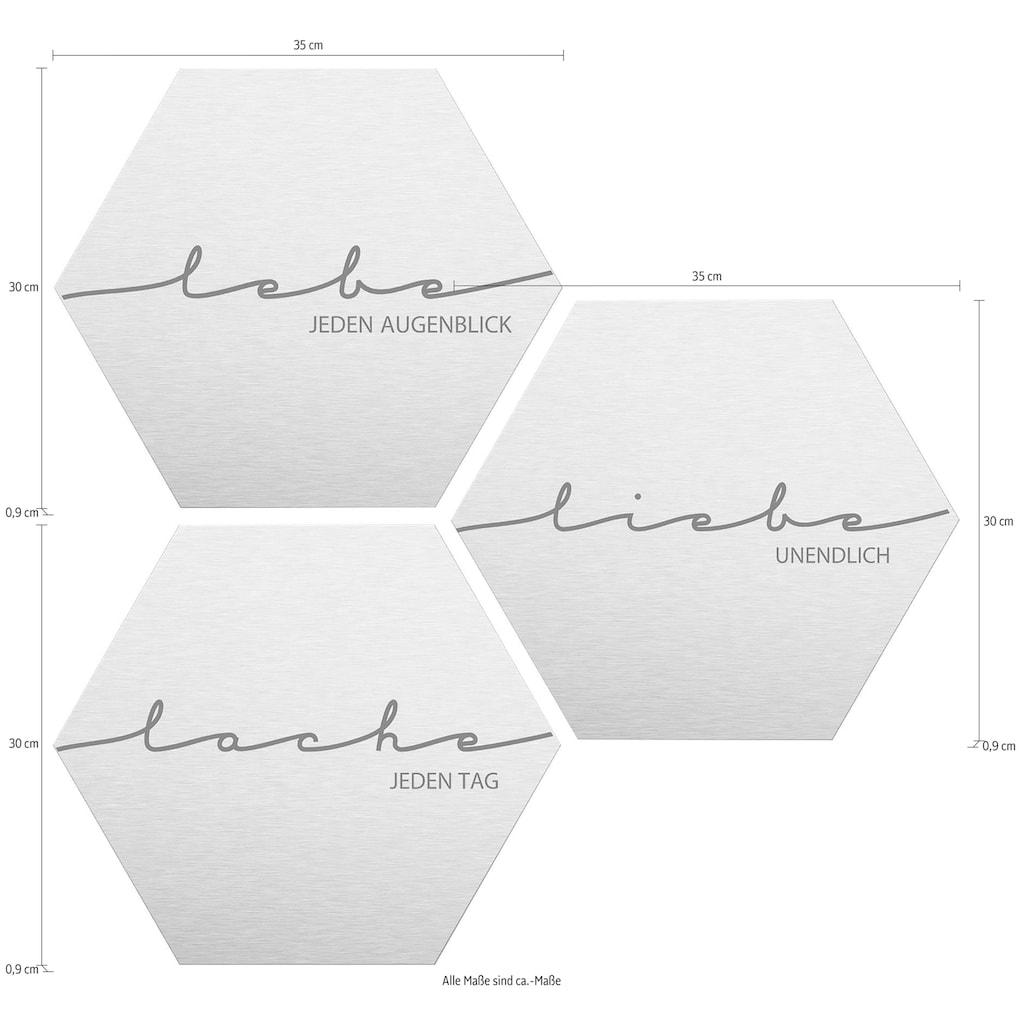 Wall-Art Alu-Dibond-Druck »Lebe, Lache, Liebe«, (Set)