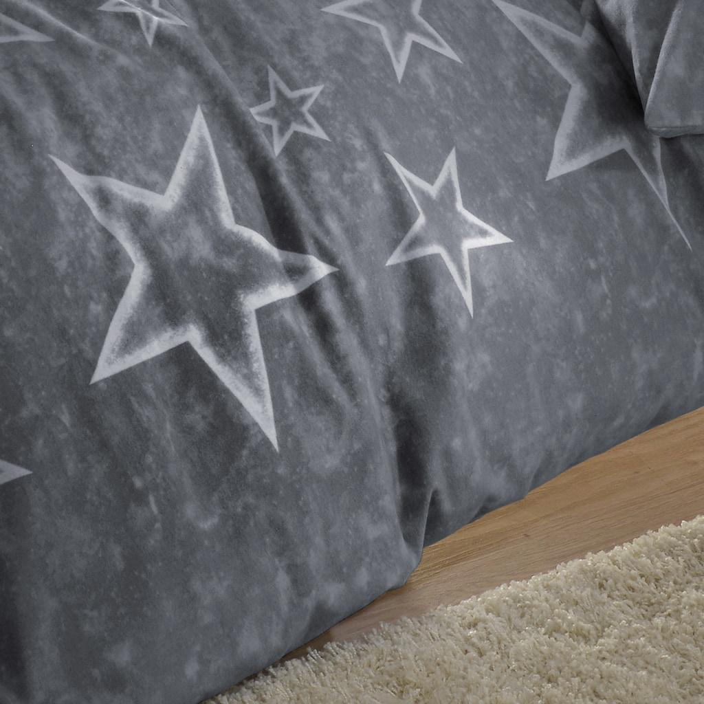 BETTWARENSHOP Bettwäsche »Anthrazit-Sterne«, warmer weicher Sternenlook