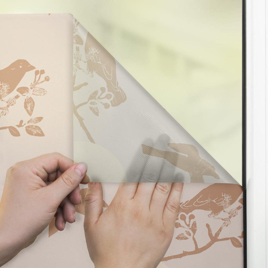 LICHTBLICK ORIGINAL Fensterfolie »Fensterfolie selbstklebend, Sichtschutz, Moon Birds - Beige«, 1 St., blickdicht, glattstatisch haftend