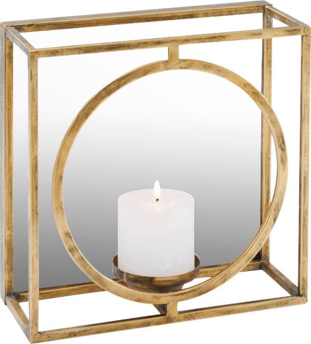 Schneider Wandkerzenhalter, Kerzen-Wandleuchter, Kerzenhalter, Kerzenleuchter hängend, Wanddeko, mit Spiegel goldfarben Wanddekoration Deko Wohnaccessoires Kerzenhalter