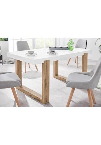INOSIGN Esstisch »Solid«, mit schönem Holzgestell und einer weißen hochglanzfarbenen Tischplatte, in zwei verschiedenen Größen kaufen
