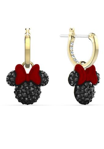 Swarovski Paar Creolen »Minnie Kreolen, schwarz, vergoldet, 5566692«, mit Swarovski® Kristallen, Emaille und abnehmbaren Einhängern kaufen