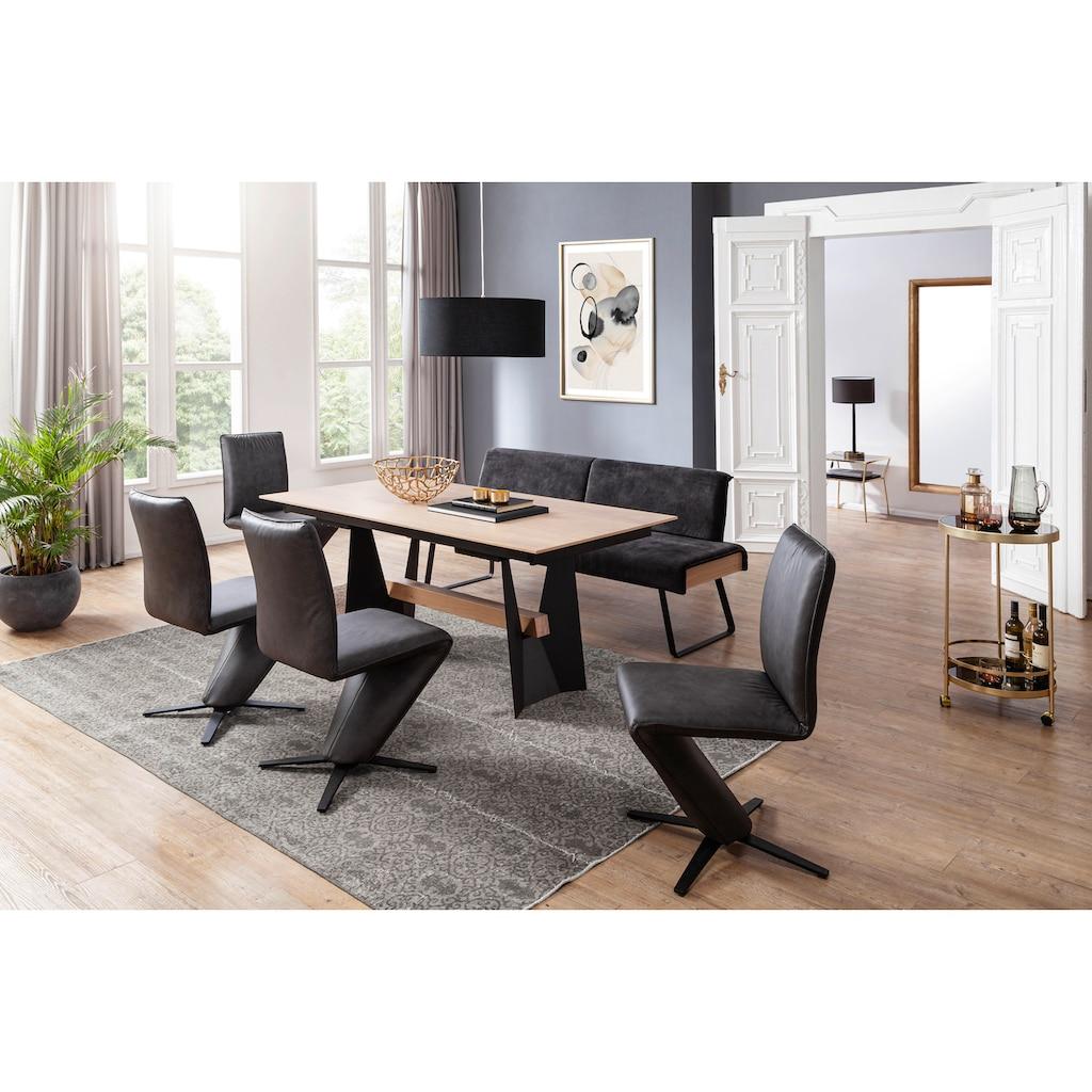 K+W Komfort & Wohnen Essgruppe »Deseo II«, (Set, 6 tlg.), Solobank mit Rückenneigungsverstellung in 2 Breiten, 4 Drehstühle und Tisch 180x90 cm