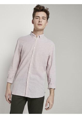 TOM TAILOR Denim Langarmhemd »Strukturiertes Hemd aus Leinengemisch« kaufen