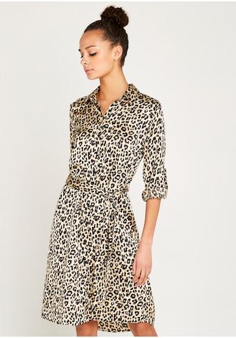 Apricot Hemdblusenkleid »Leopard Satin Crepe Shirt Dress«, (mit Bindegürtel), mit Animal-Print kaufen