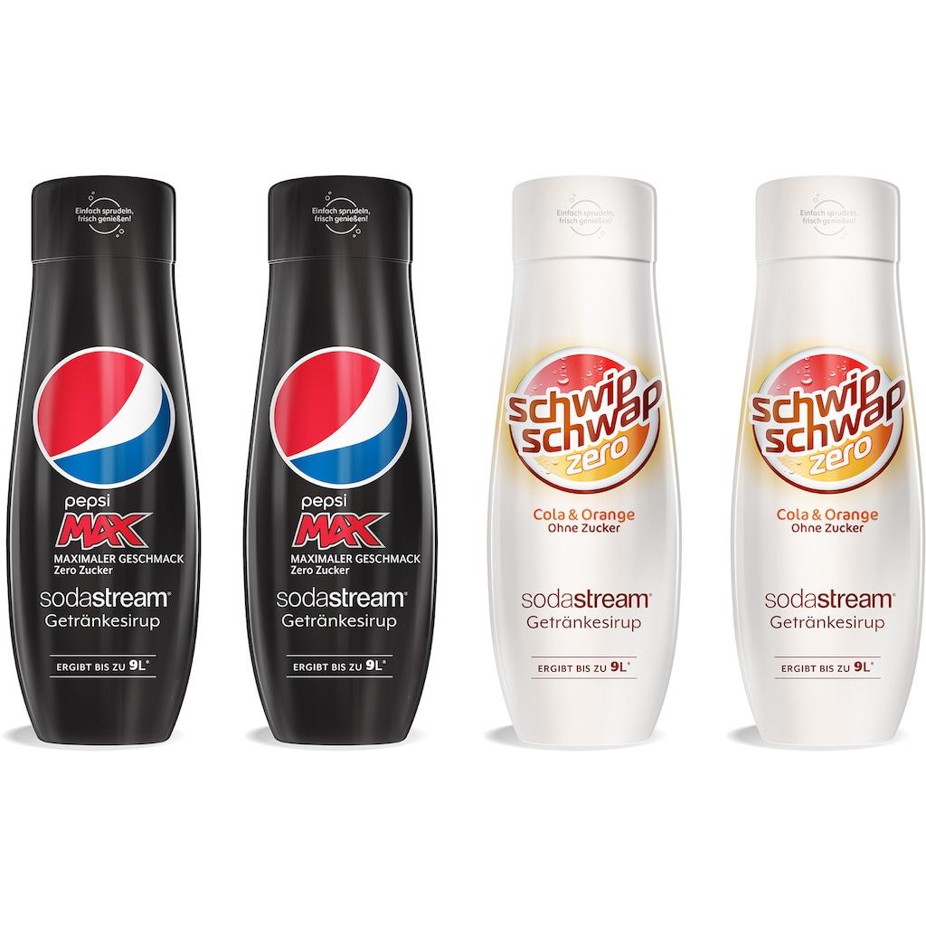 SodaStream Getränke-Sirup, PepsiMax & SchwipSchwap Zero, (4 Flaschen), für bis zu 9 Liter Fertiggetränk