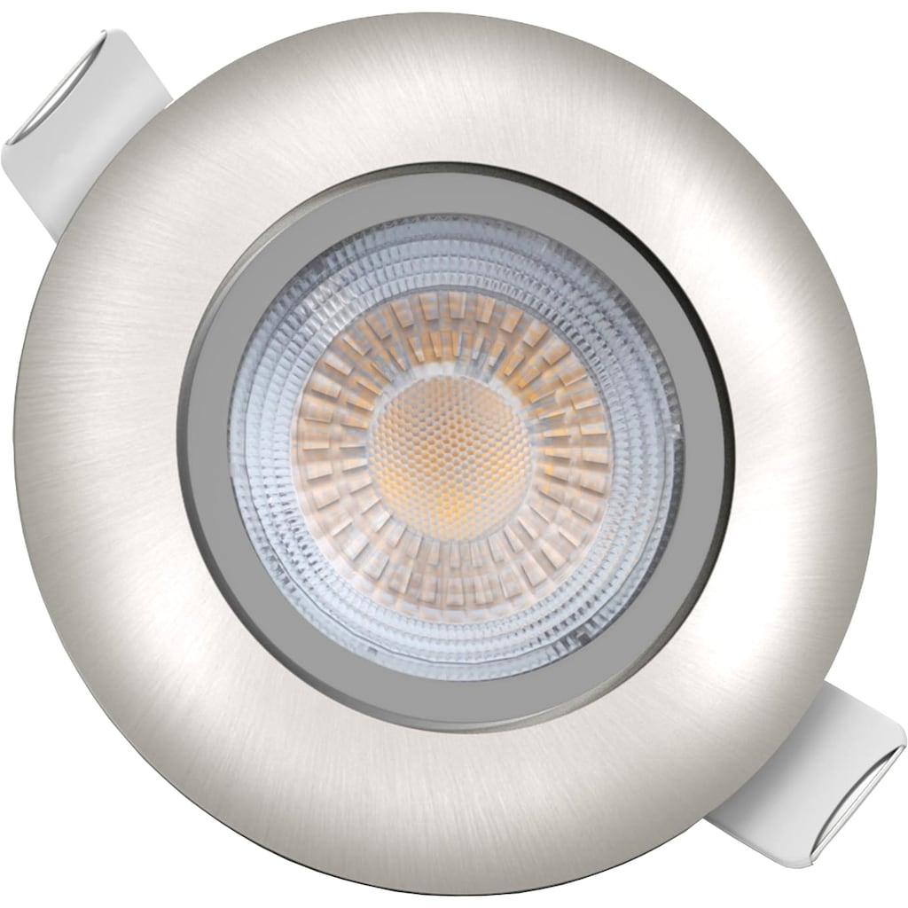 B.K.Licht LED Einbauleuchte, LED-Board, 5 St., Warmweiß, LED Einbaustrahler schwenkbar ultra flach 5x LED-Modul 5W 450lm 3000K Einbauspots IP23