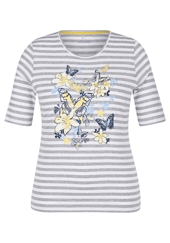 Rabe T - Shirt mit Allover - Streifen und Front - Print kaufen