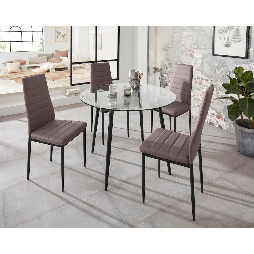 my home Esszimmerstuhl »Sandy«, (2 oder 4 Stück) Bezug in Kunstleder, schwarzes Metallgestell