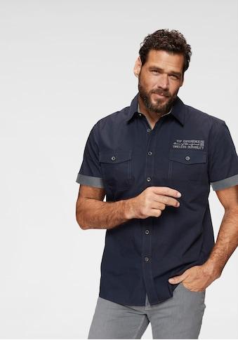 Man's World Kurzarmhemd, mit kontrastfarbener Stickerei kaufen