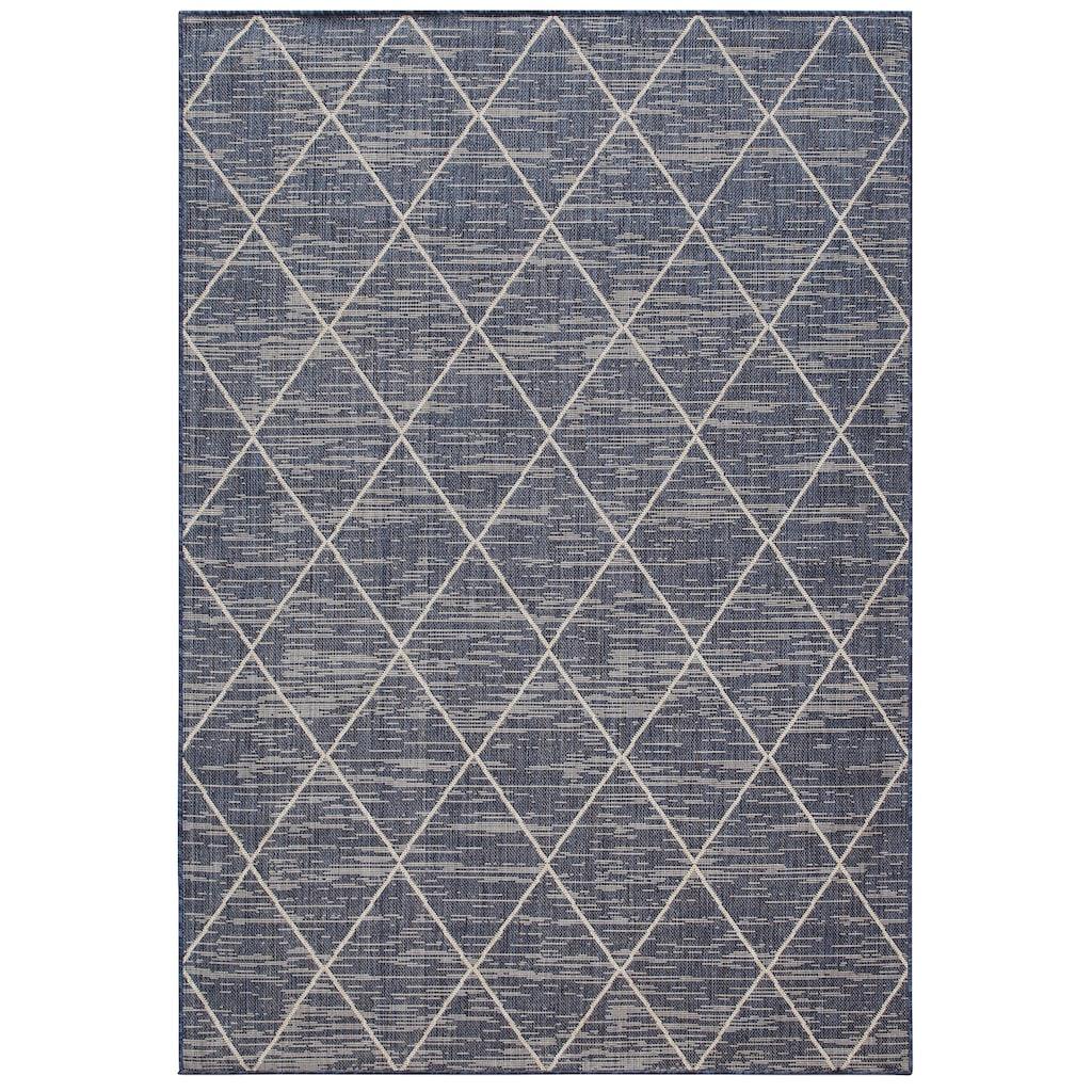 Home affaire Teppich »Dubai«, rechteckig, 3 mm Höhe, Flachgewebe, Rauten Design, Wohnzimmer