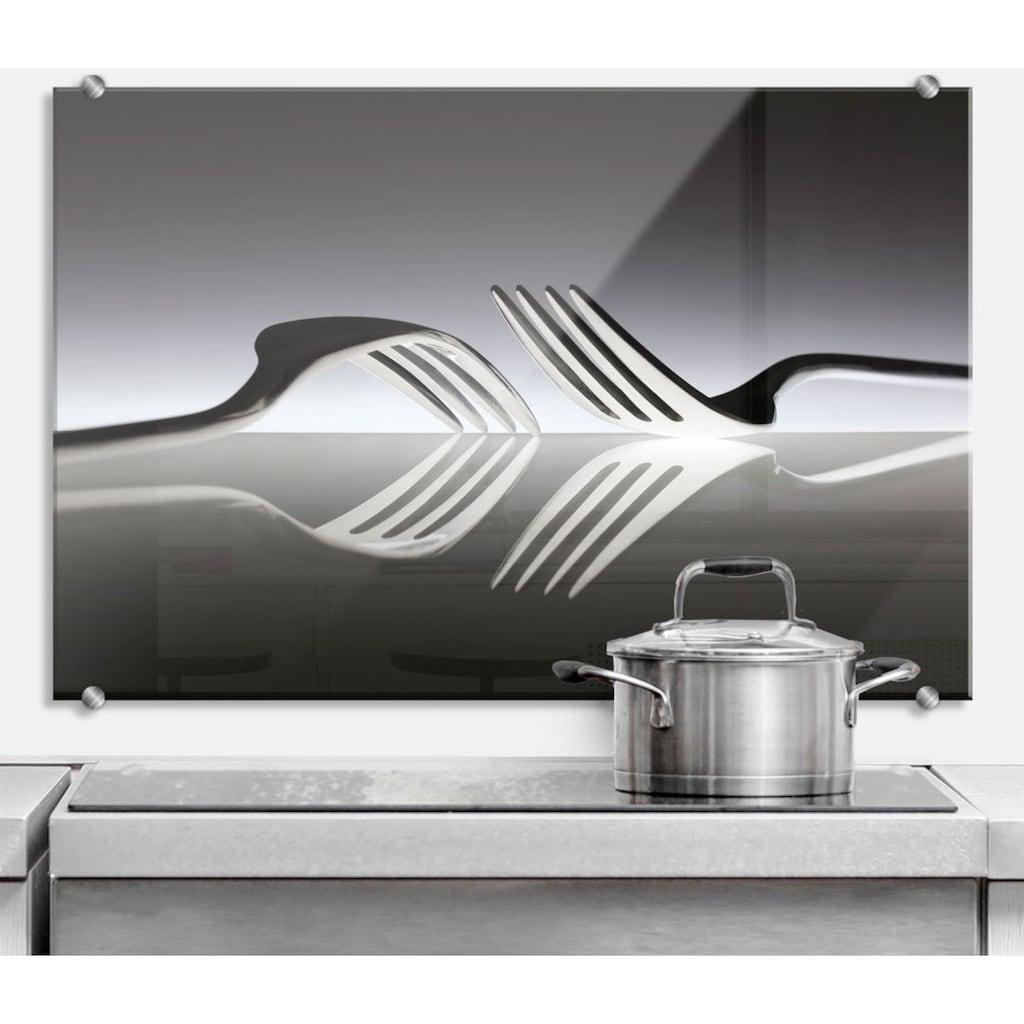 Wall-Art Küchenrückwand »Silber Besteck Spritzschutz«
