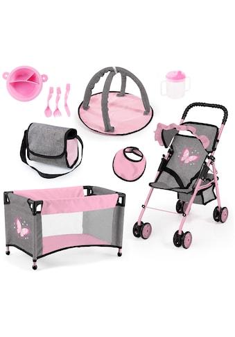 Bayer Puppenbuggy »grau/rosa«, mit Puppenbett, Wickeltasche, Geschirr, Flasche, Latz... kaufen